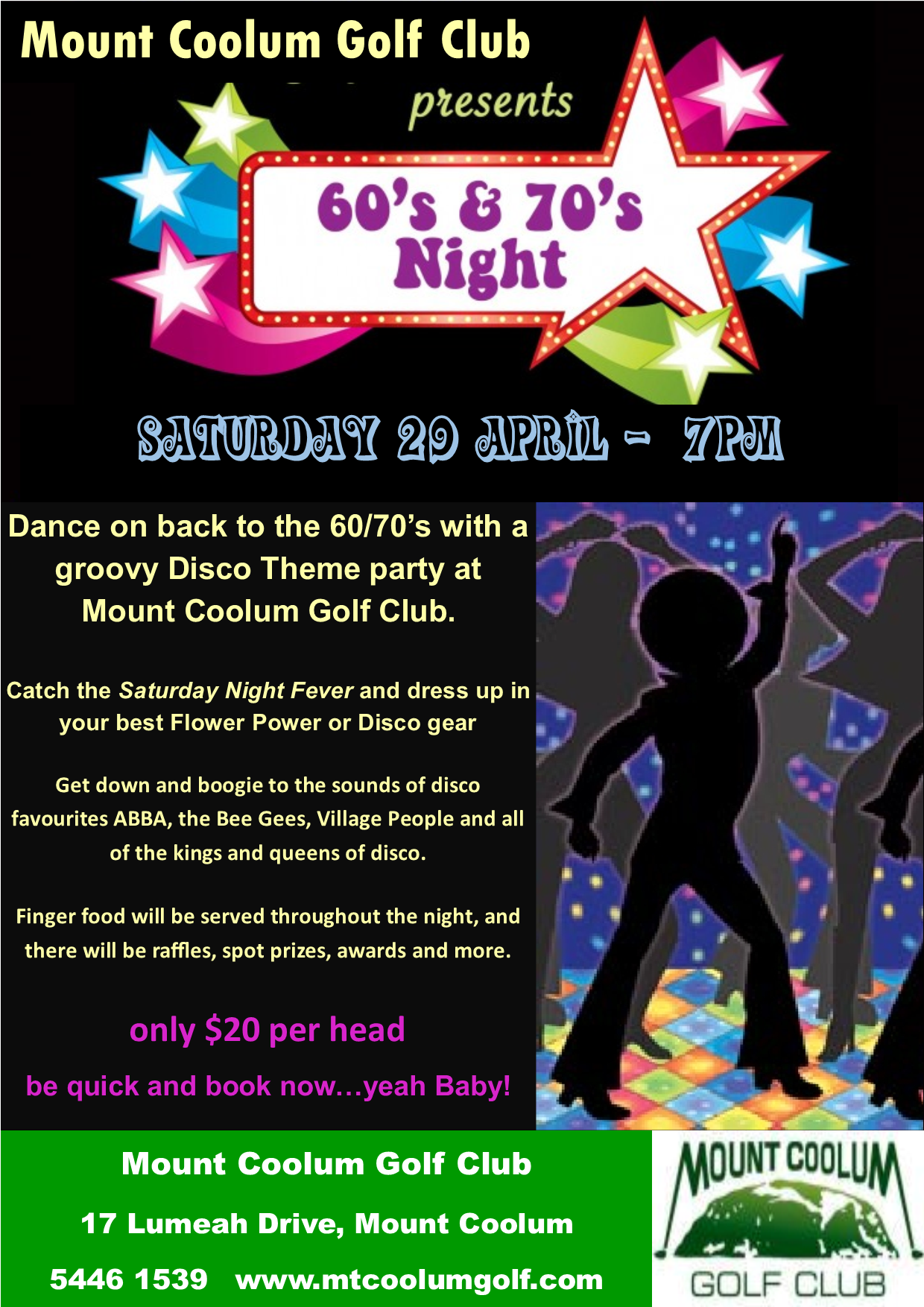 Back to the 60's & 70's Disco Night – Mount Coolum Golf Club
